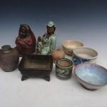 西東京市田無町にて買入れ致しました錫の茶入や茶托、香炉、観音像、戦前の絵葉書など。