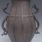 龍耳付銅花瓶