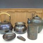 金古色鎚肌 銅湯沸 茶托