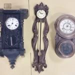 東京都東大和市のお客様より買い取りさせて頂きましたユンハンスや精工舎の姫達磨などの古い柱時計です。