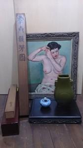 大清光緒年製 耳付花瓶 掛軸 油絵