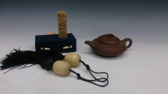 象牙風鎮 紫砂 煎茶道具