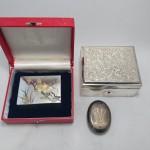 純銀 小箱 彫金 宝石箱