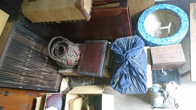 紫檀花台 火鉢 竹籠