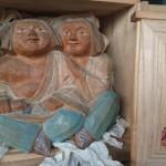 村井辰夫 寒山拾得 木彫り 彫刻